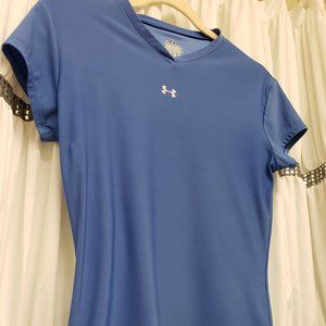 Under Armour Blue Stretchy SS Workout Top V-Neck